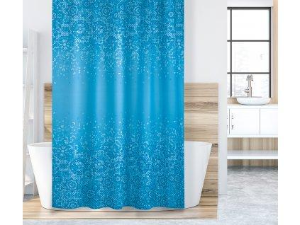 Koupelnový závěs modrá mozaika