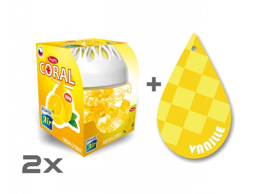CORAL PEARLS 1+1 + Papírový osvěžovač - Fresh citrus/Vanilla