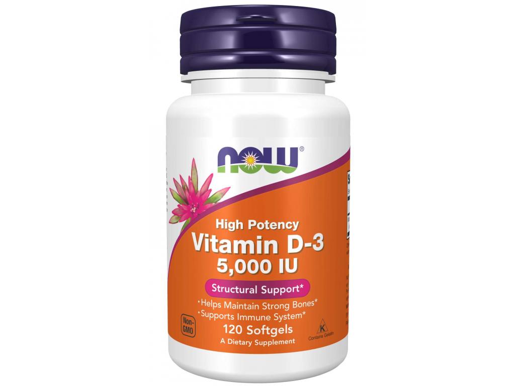 NOW FOODS Vitamin D3, 5000 IU, 120 softgel kapslí