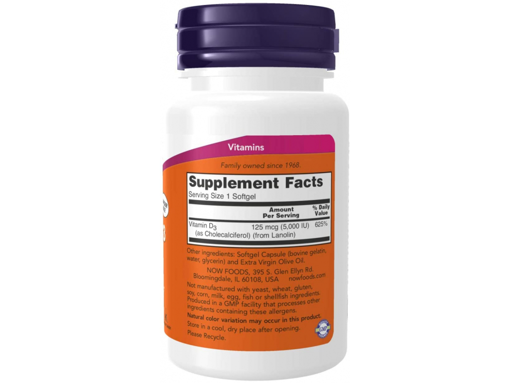 Now Foods, Vitamin D 3, High Potency, 5,000 IU