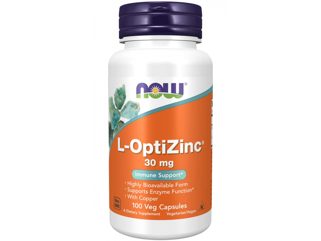 NOW FOODS L OptiZinc Zinek + Měď, 30 mg, 100 Tablet