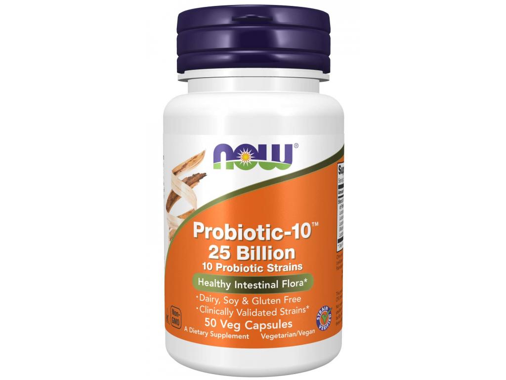 NOW FOODS Probiotic 10, probiotika, 25 miliard CFU, 10 kmenů, 50 Tablet