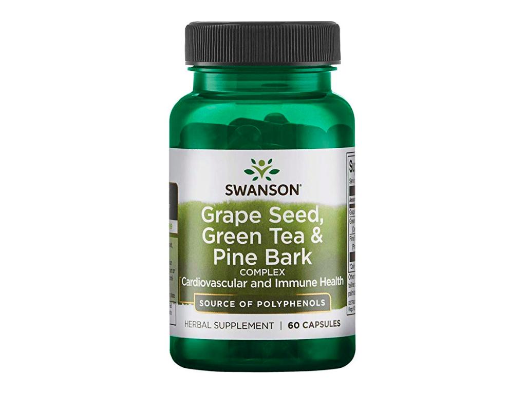 Swanson Grape Seed, Green Tea & Pine Bark, 60 kapslí