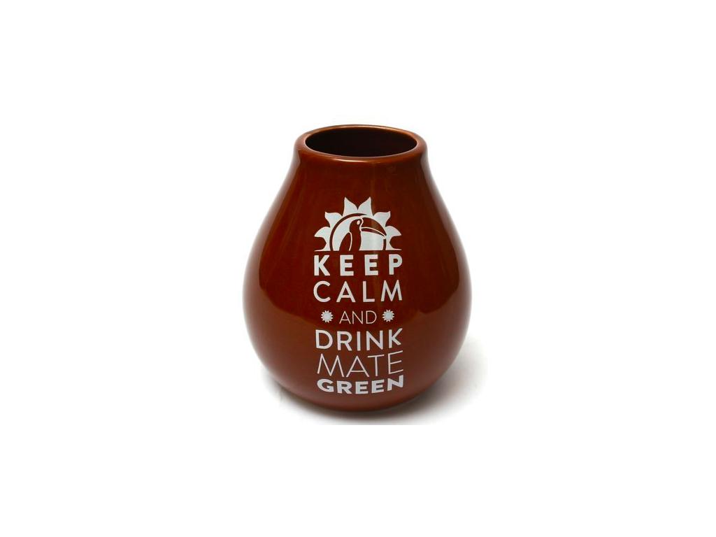 Keramická kalabasa, Hnědá Keep Calm, 350 ml