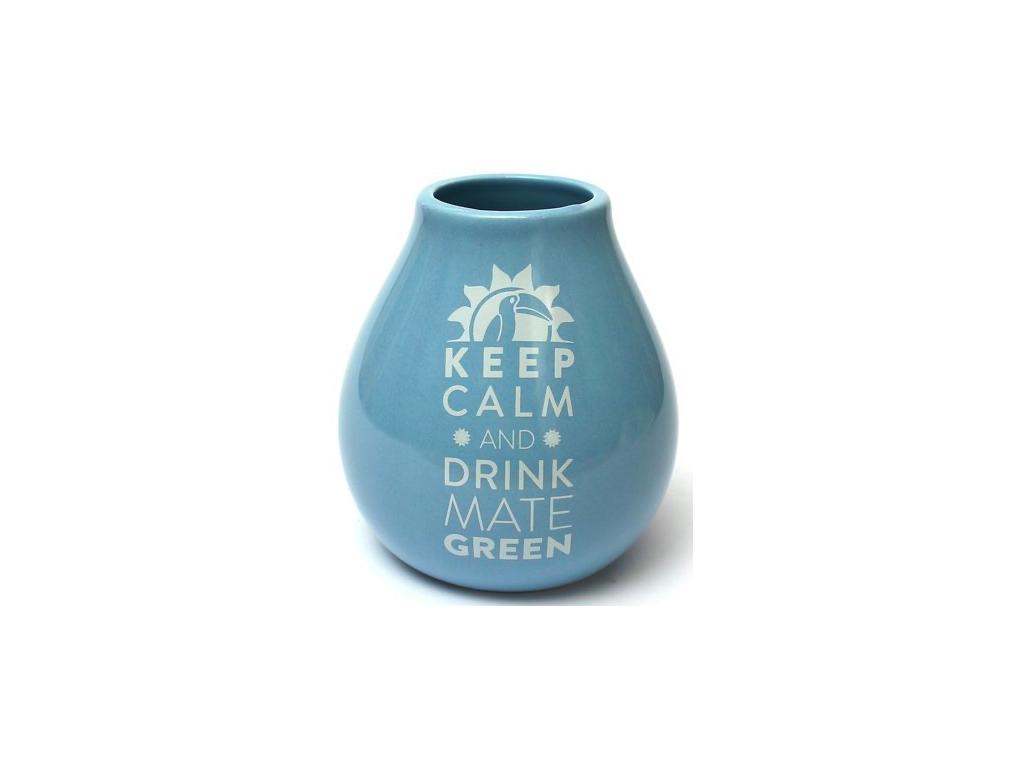 Keramická kalabasa, Světle modrá Keep Calm, 350 ml