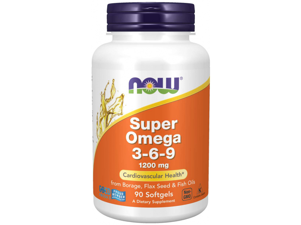 NOW FOODS Super Omega 3 6 9, 1200 mg, 90 softgel kapslí