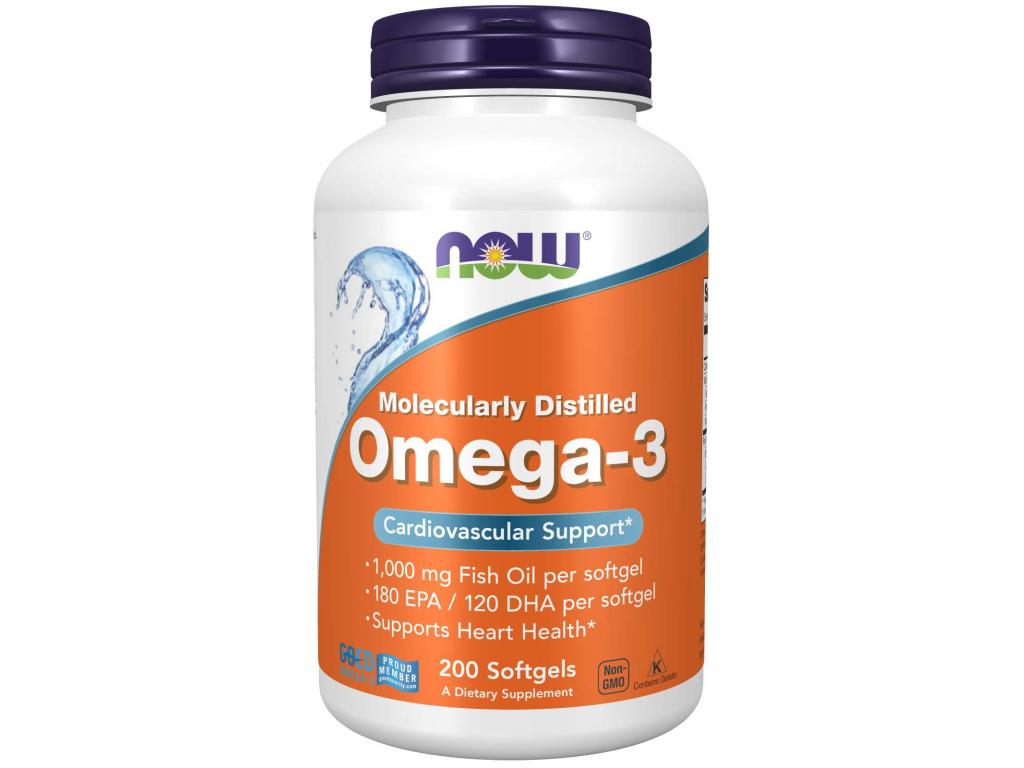 NOW FOODS Omega 3, 1000 mg, 200 softgel kapslí