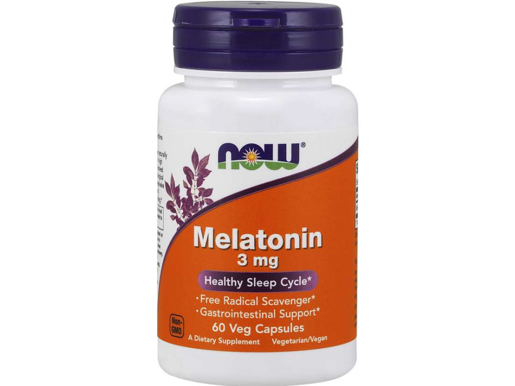 NOW FOODS Melatonin, 3 mg, 60 kapslí
