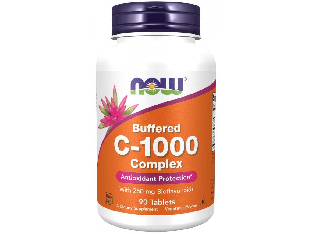 NOW FOODS Vitamin C 1000 Complex Pufrovaný s 250 mg bioflavonoidů, 90 tablet