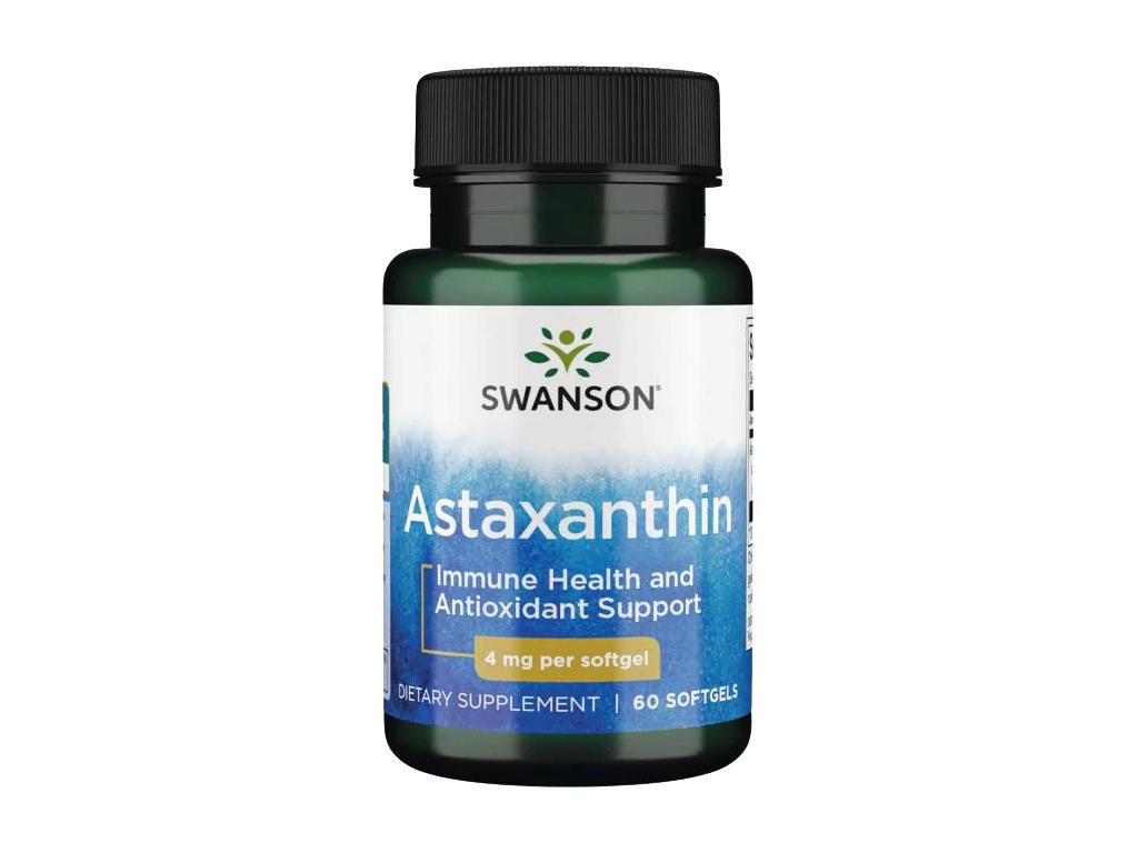 Swanson Astaxanthin, 4 mg, 60 softgel kapslí