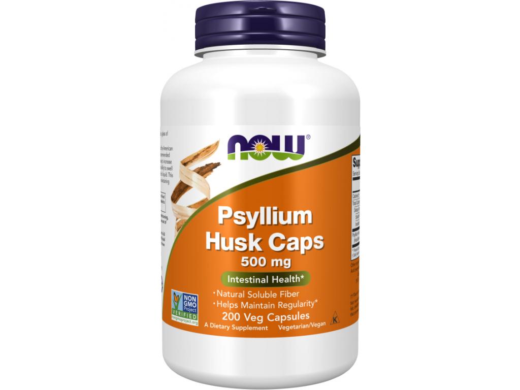 NOW FOODS Psyllium Husk, 500 mg, 200 rostlinných kapslí