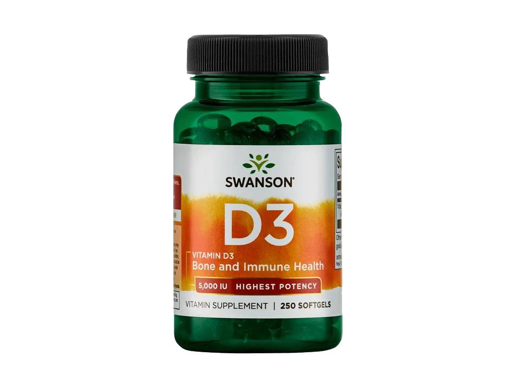 Swanson Vitamín D3 5000 IU, 250 kapslí