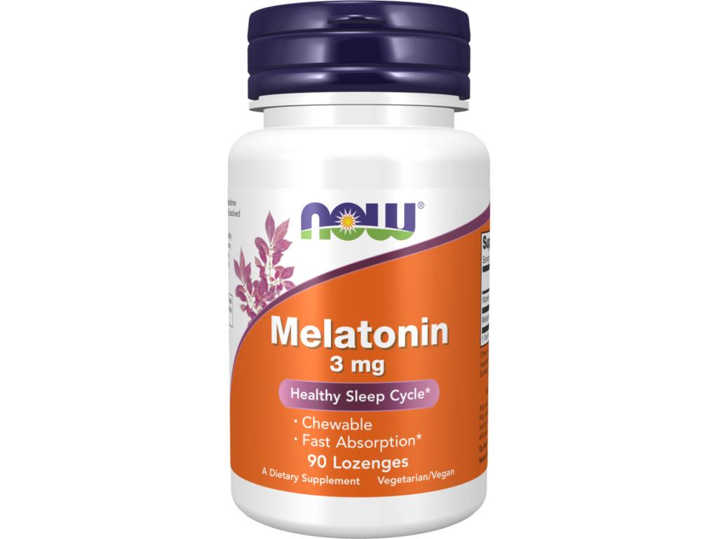 NOW FOODS Melatonin, 3 mg, 90 žvýkacích pastilek