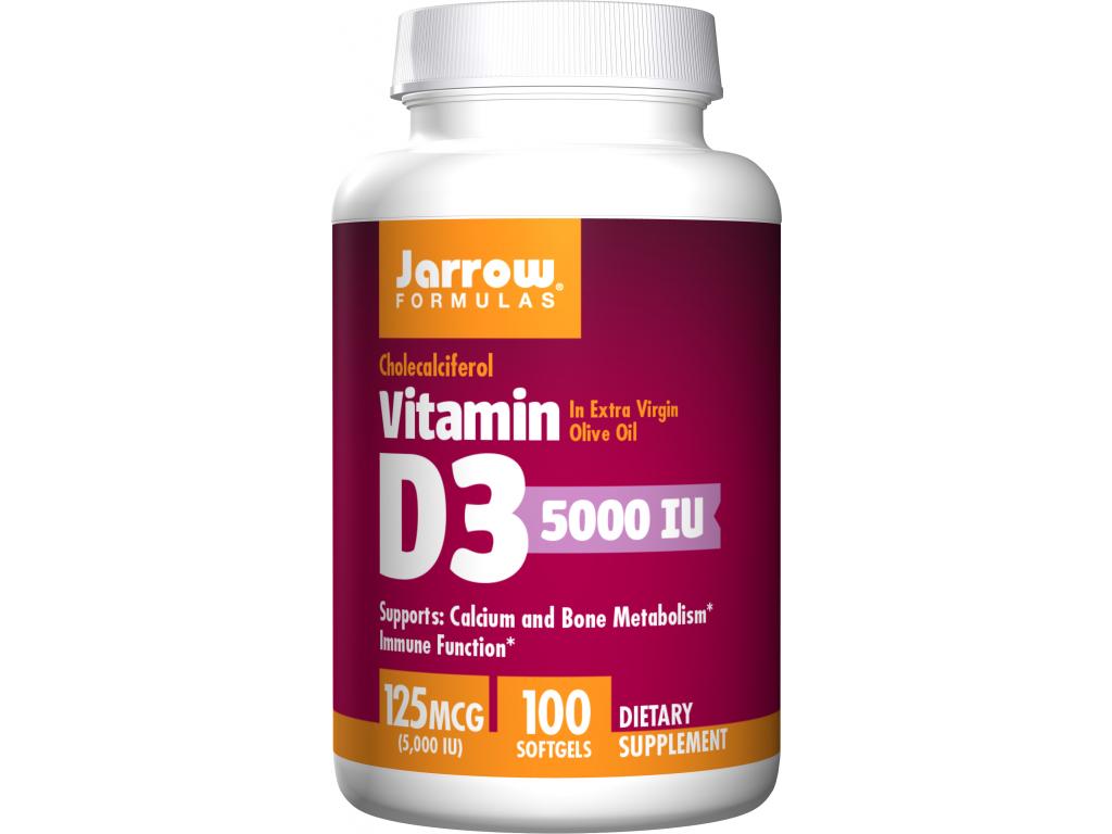 Jarrow Vitamín D3 5000 IU, 100 softgel kapslí