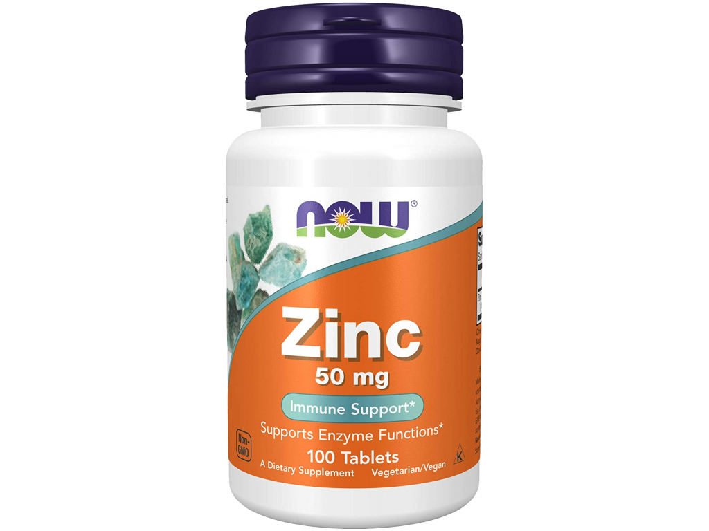 NOW FOODS Zinc Gluconate, Zinek, 50 mg, 100 tablet