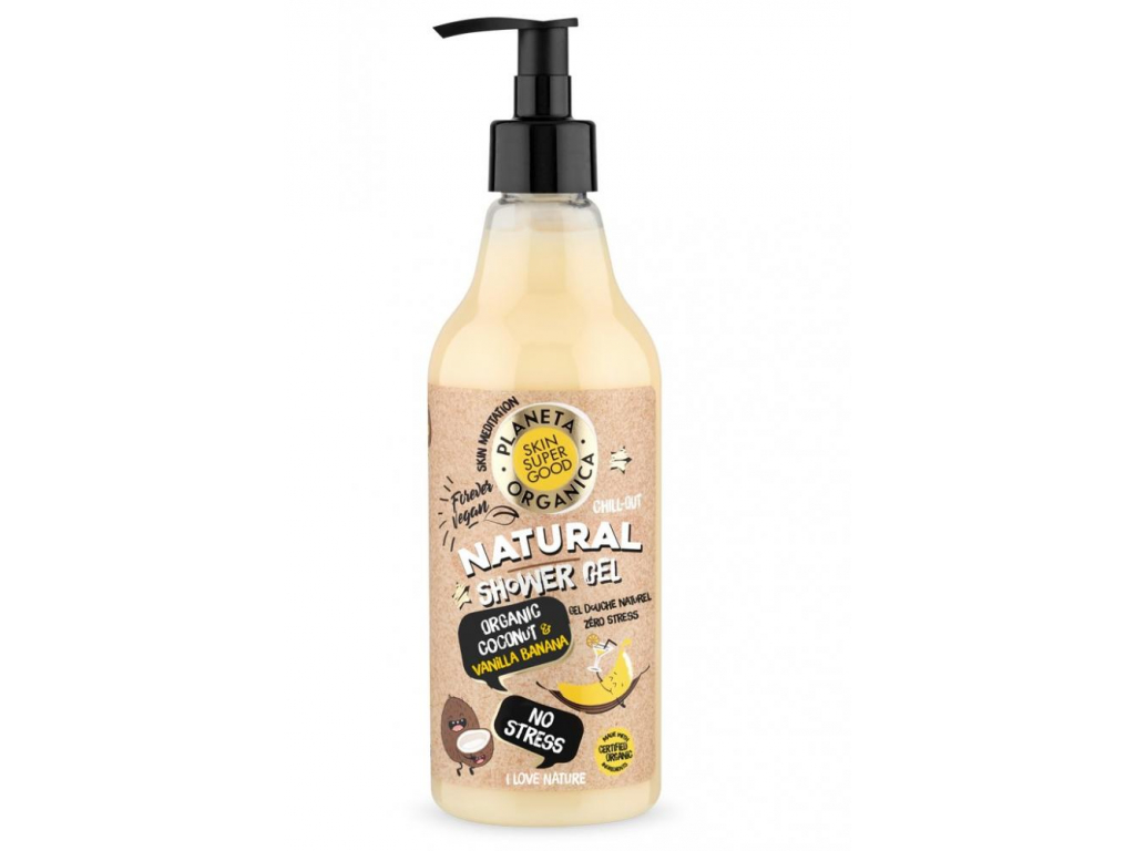 Natura Siberica Přírodní sprchový gel Bez stresu Organický kokos a vanilkový banán, 500 ml