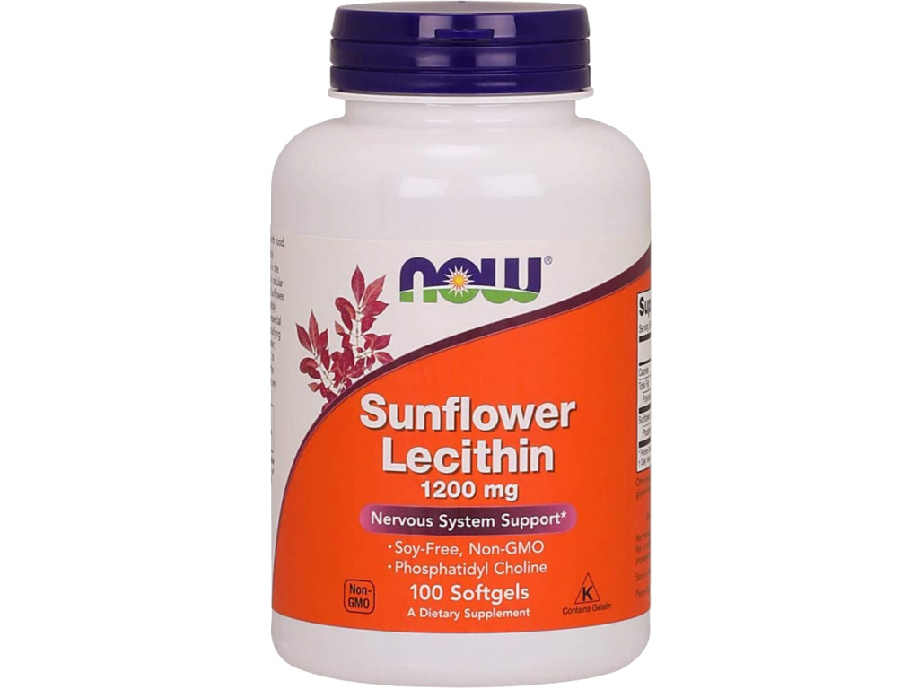 NOW FOODS Sunflower Lecithin, Slunečnicový lecitin, 1200 mg, 100 Softgel kapslí
