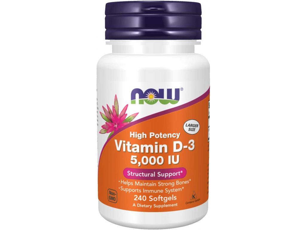 NOW FOODS Vitamin D3, 5000 IU, 240 softgel kapslí