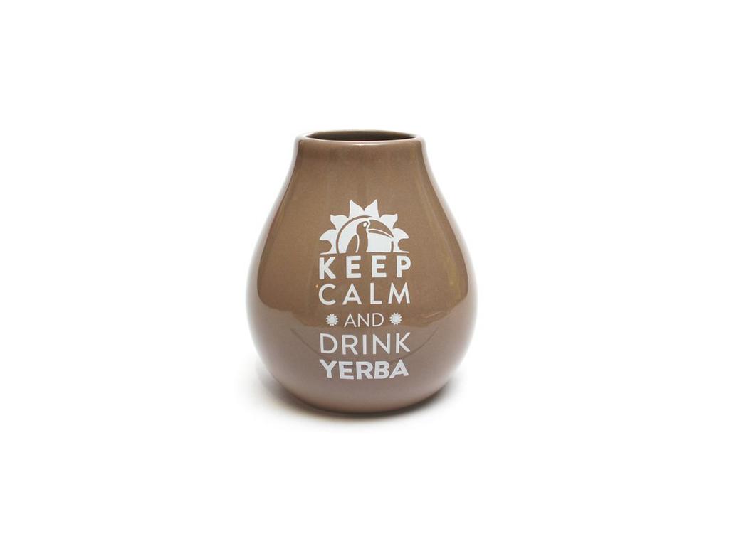 Keramická kalabasa, Světle hnědá Keep Calm, 350 ml