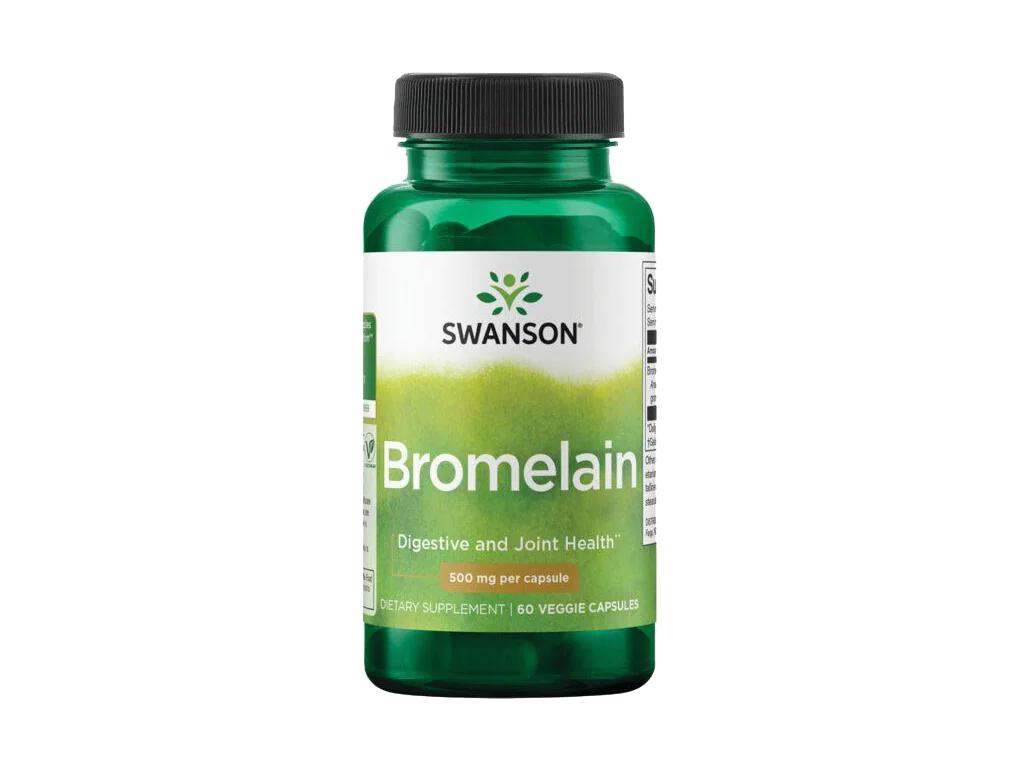 Swanson Bromelain, 500 mg, 60 rostlinných kapslí