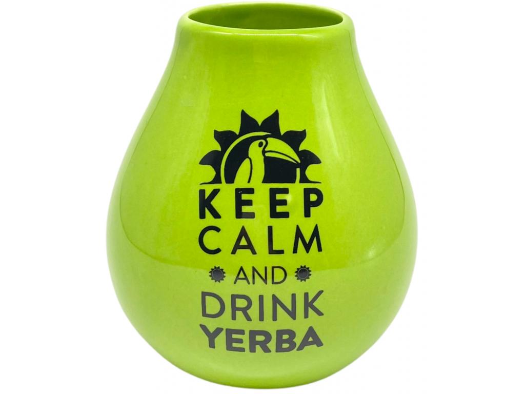 Keramická kalabasa, Zelená Keep Calm, 350 ml 2
