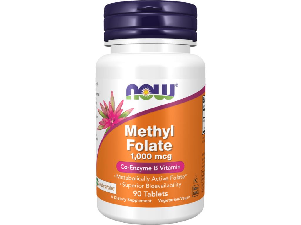 Now Foods Kyselina Listová Methyl Folate (metylfolát) 1000 mcg, 90 tablet