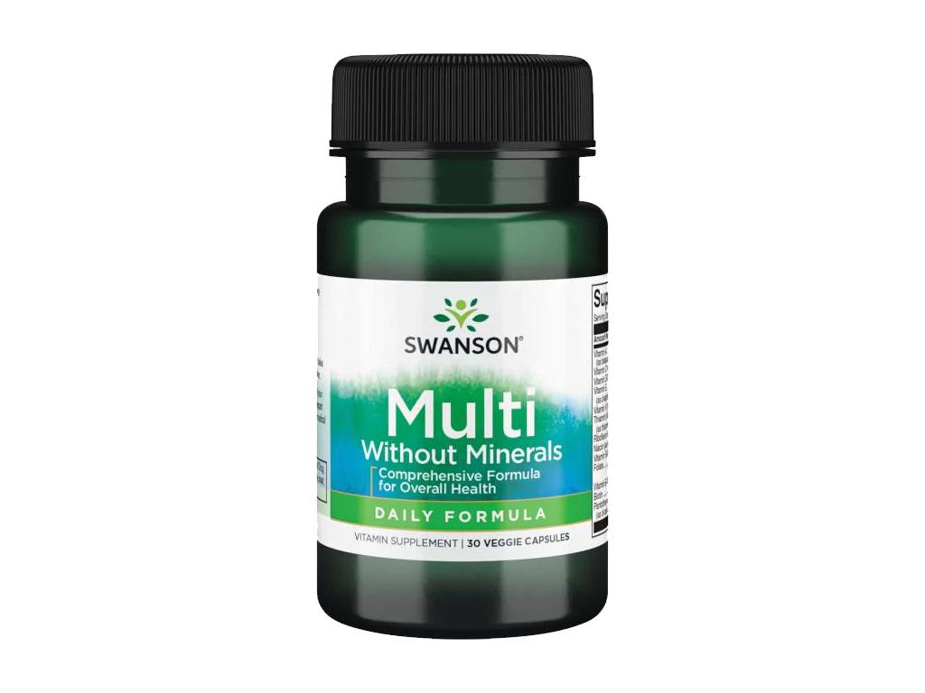 Swanson Multi bez minerálů, Multivitamin, 30 rostlinných kapslí