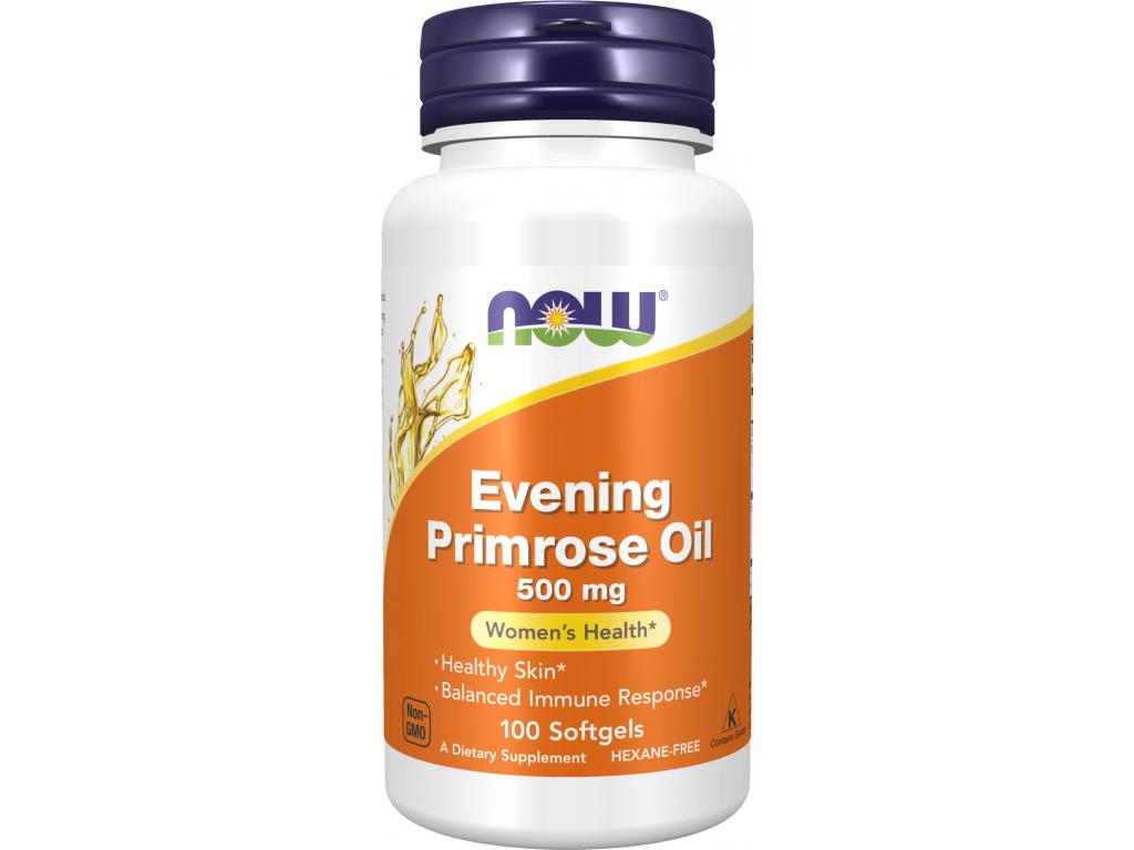 Now Foods Evening Primrose Oil, Pupalkový olej, 500 mg, 100 softgel kapslí