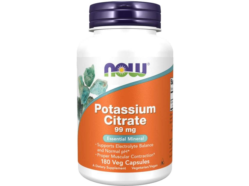 Now Foods Potassium Citrate (Draslík), 99 mg, 180 rostlinných kapslí