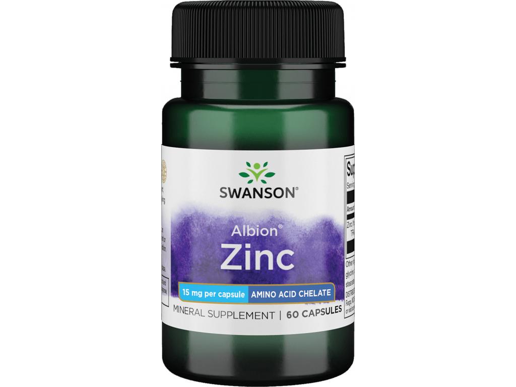Swanson Chelated Zinc (glycinát), 15 mg, 60 kapslí