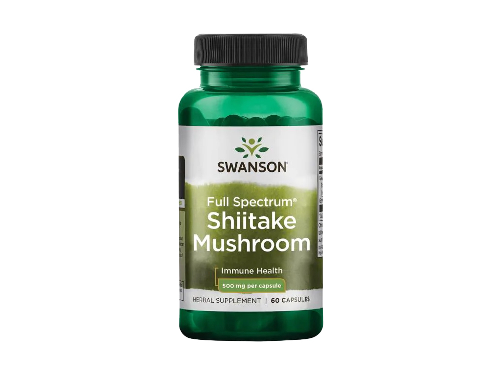 Swanson Shiitake Mushroom Full Spectrum, 500 mg, 60 kapslí
