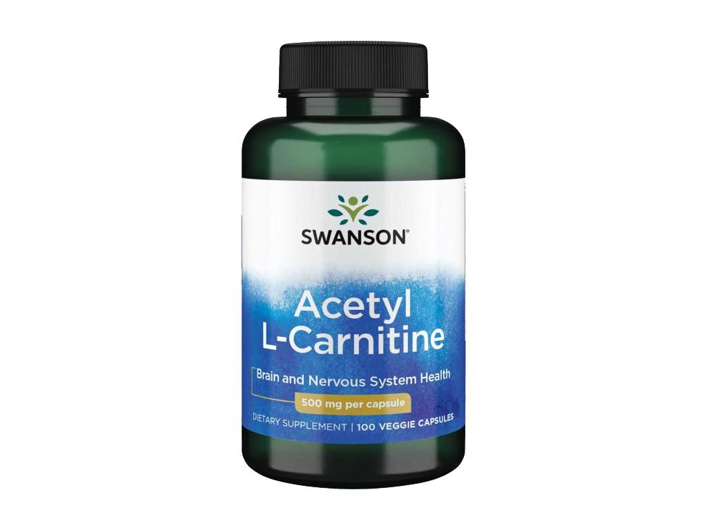 Swanson Acetyl L Carnitine, 500 mg, 100 rostlinných kapslí