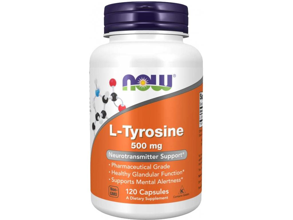 NOW FOODS L Tyrosine, 500 mg, 120 kapslí