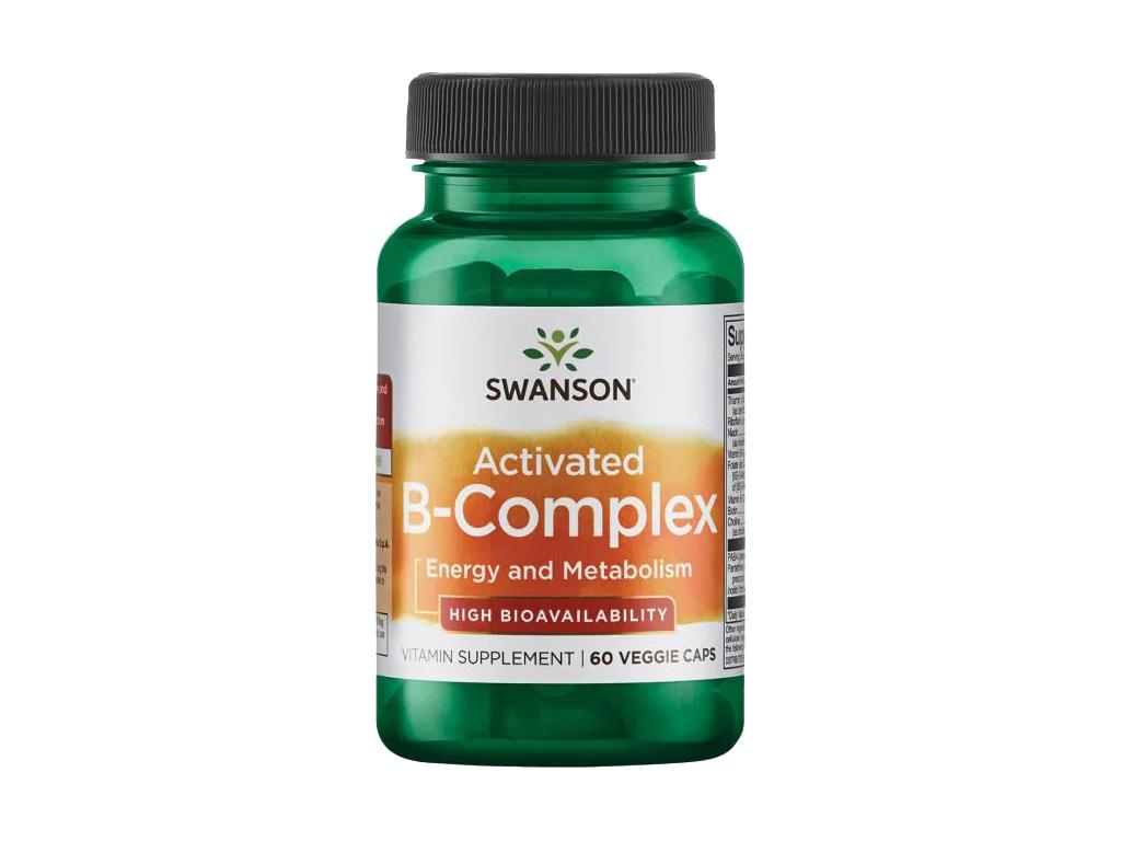 Swanson Activated B Complex, B komplex s vysokou biologickou dostupností, 60 rostlinných kapslí