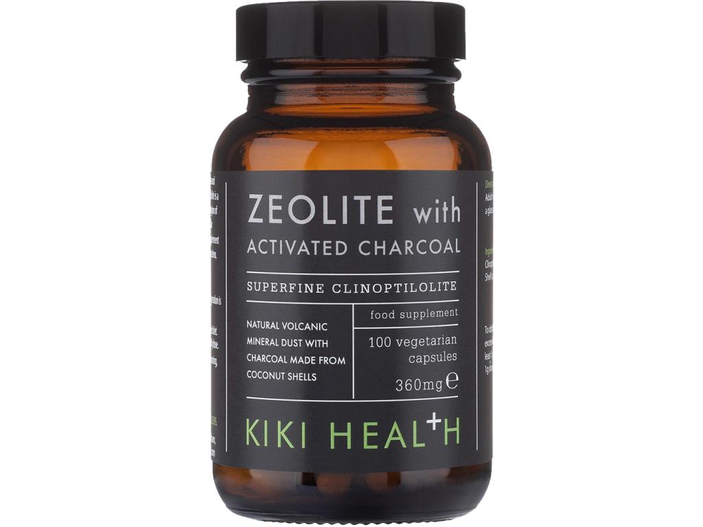 Kiki Health Zeolite with Activated Charcoal, 100 rostlinných kapslí
