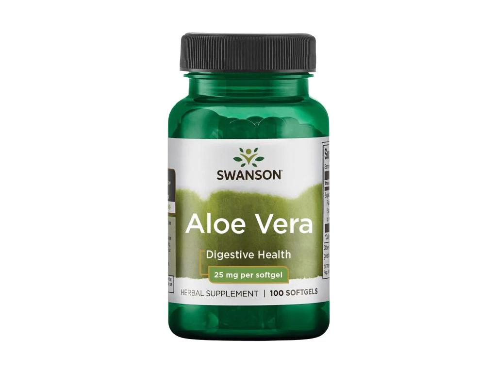 Swanson Aloe Vera, 25 mg, 100 softgel kapslí