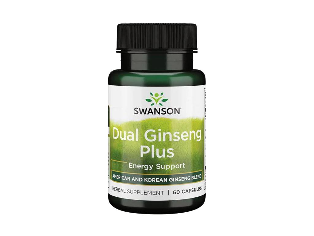 Swanson Dual Ginseng Plus, Kombinace 4 adaptogenních bylin, 60 kapslí