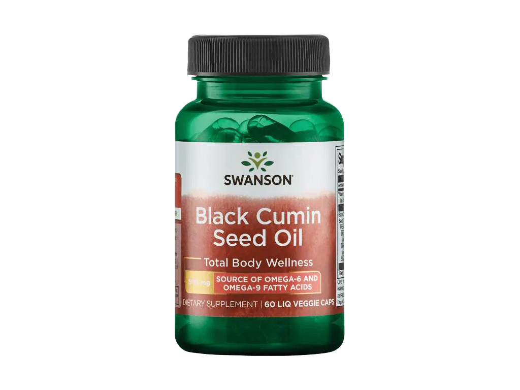 Swanson Black Cumin Seed Oil, Olej z černého kmínu, 500 mg, 60 tekutých kapslí