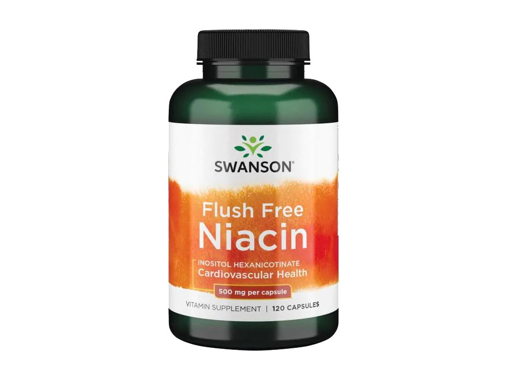 Swanson Niacin Flush Free, Bez niacinového výplachu, 500 mg, 120 kapslí
