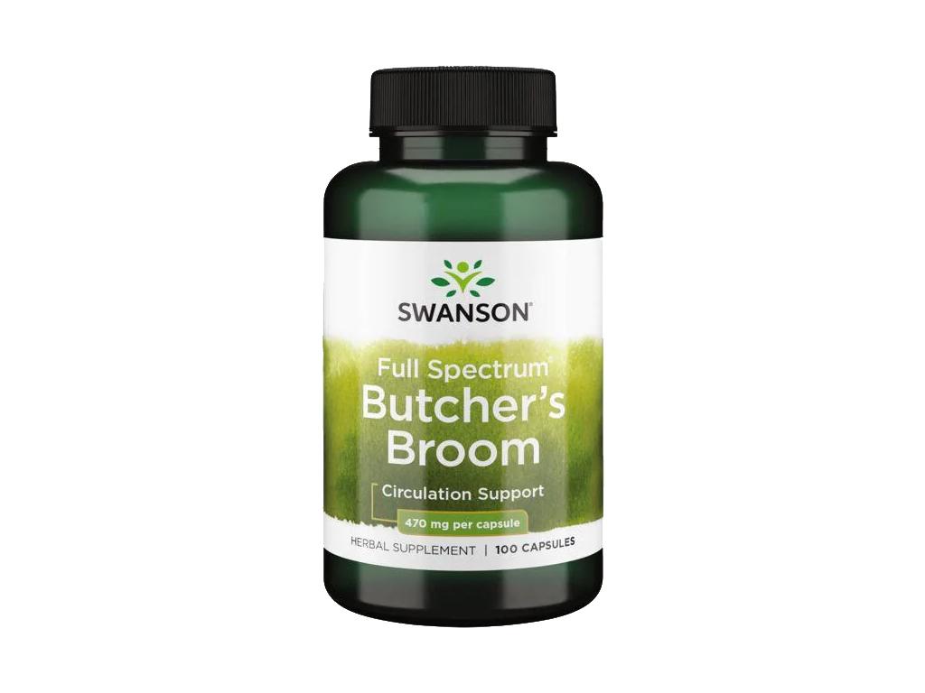 Swanson Butcher's Broom, Listnatec pichlavý, 470 mg, 100 kapslí