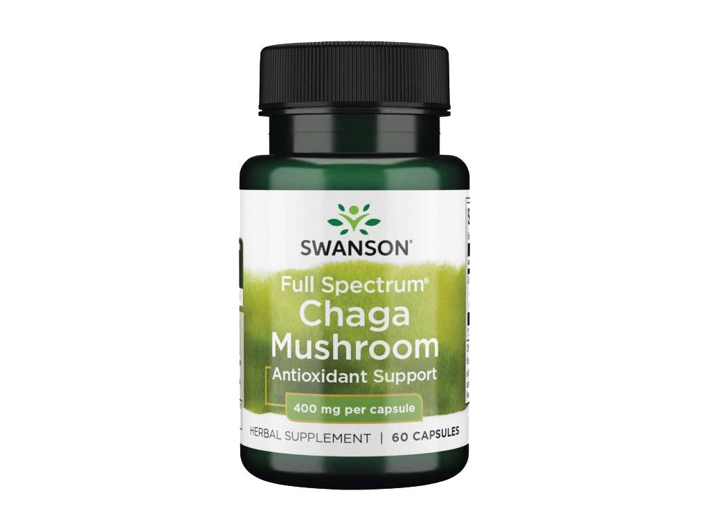 Swanson Chaga Mushroom, Rezavec šikmý, 400 mg, 60 kapslí