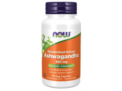 NOW FOODS Ashwagandha 450 mg, 90 roslinných kapslí