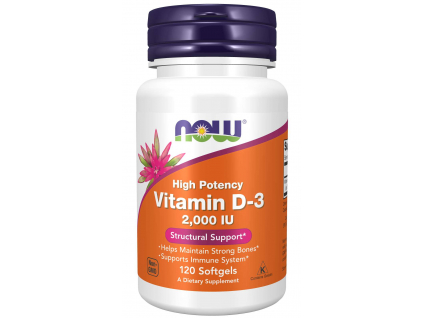 NOW FOODS Vitamin D3, 2000 IU, 120 softgel kapslí
