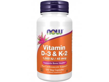 NOW FOODS Vitamin D3 & K2, 1000 IU : 45 μg x 120 rostlinných kapslí