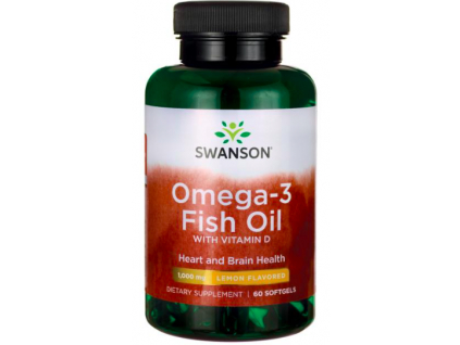 Swanson Omega 3 Fish Oil + Vitamin D3, 1000 IU, 60 tablet