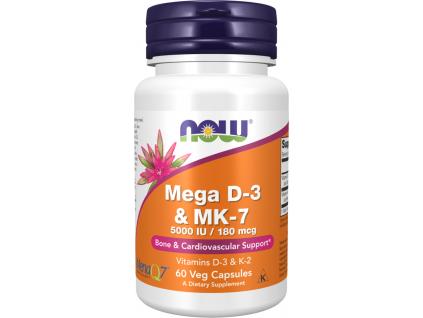 Now Foods Mega Vitamin D3 + K2 (MK 7), 5000 IU 180 mcg, 60 veg kapslí