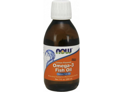 NOW FOODS Omega 3 Rybí olej, Fish Oil Liquid, Citrón, 200 ml