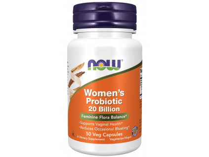 NOW FOODS Women's Probiotic, probiotika pro ženy, 20 miliard CFU, 3 kmeny, 50 Rostlinných kapslí