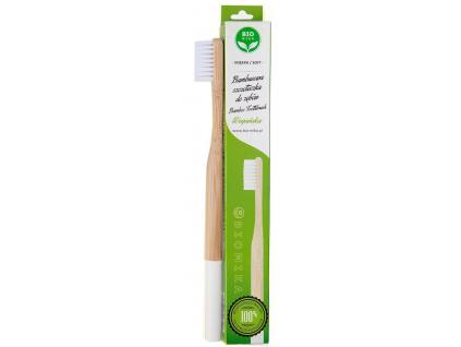 Bambusový zubní kartáček Biomika měkký, bílý