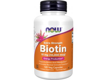 NOW FOODS Biotin extra silný, 10 mg, 120 rostlinných kapslí